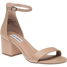 STEVE MADDEN Irene Blush Sandal ($79) ❤ liked on Polyvore featuring shoes, sandals, blush leather, steve-madden shoes, mid-heel shoes, leather shoes, synthetic leather shoes and mid-heel sandals