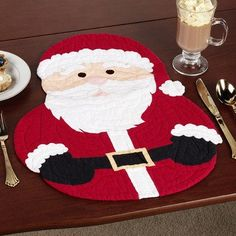 Santa Shaped Placemat Set Red Set of Four Christmas Placemats, Christmas Sewing, Felt Christmas, Christmas Holidays, Christmas Decorations, Christmas Ornaments, Christmas Projects, Holiday Crafts, Deco Table Noel