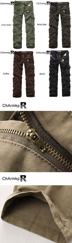 US$39.88 (44% OFF) Men's Military Outdoor Loose Large Size Cotton Multi-pockets Casual Cargo Pants
