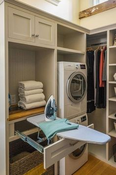 This laundry closet showcases unique organization features from a pull-out iron . This laundry closet showcases unique organization features from a pull-out iron board drawer to cor Small Utility Room, Utility Room Storage, Utility Room Designs, Utility Closet, Laundry Room Organization, Storage Shelves, Small Shelves, Storage Ideas, Walk In Closet Organization Ideas
