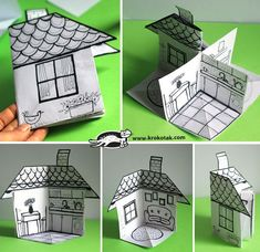 How to Make a Paper House (Diy Paper) children activities, more than 2000 coloring pages folding house which can be adapted to be used as a prop for storytelling. Easy and simple activity for early years and primary. A great idea for your lesson plan and Diy Paper, Paper Crafting, Paper Art, Paper Doll House, Paper Houses, Papier Diy, Up Book, Paper Toys, Elementary Art