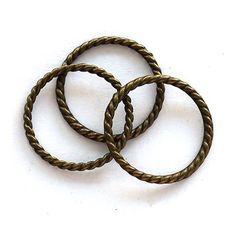 Antikolt bronz színű csavart karika 25 mm 3 db - Csinálj Ékszert! - Ékszerkészítés, bizsualkatrészek, üveglencsés ékszer