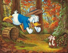 """Disney Fine Art: """"Nuts for Nuts"""" by Annick Biaudet:) Disney Cartoon Characters, Mickey Mouse Cartoon, Mickey Mouse And Friends, Disney Cartoons, 1970s Cartoons, Minnie Mouse, Disney Duck, Disney Mickey, Disney Marvel"""