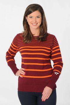 Virginia Tech Hokies Maroon and Orange Sweater - University Girls Apparel