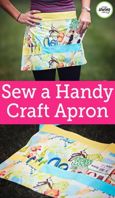 Sew a handy craft apron complete with pockets and places for all your tools. This trendy half apron features several pockets in various sizes, slots for pens and pencils, a loop to easily attach a measuring tape and even a separate pocket for your snips.