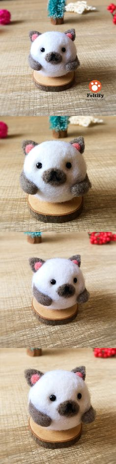 Handmade Needle felted felting kit project Woodland Animals cat cute for beginners starters