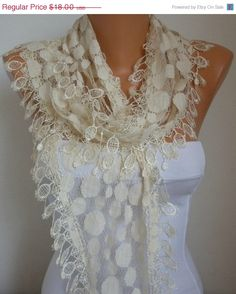 11d2bf6f7bff Creamy White Tulle Lace Scarf - Women Scarves - Summer scarf shawl -  Bridesmaid Gift - best selling scarf