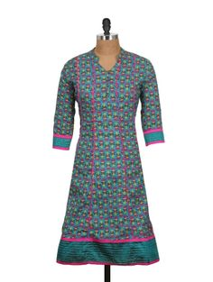 Get all the attention with this printed, blue long kurta with a Nehru collar and V-neck opening, supported with loop buttons. With delicate pink piping on the front and pretty pink and yellow flowers all through, this piece is perfect to be worn to work. Team with pink leggings for a wow effect!   Color : Blue, Pink, Yellow Fabric : Cotton Fabric Feel and Feature : Soft and Dry Trims and Closure : Fabric Buttons Length (inches) : 41 Finish : Standard