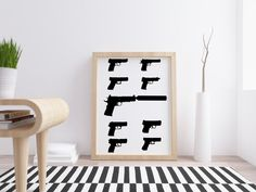 A3 Size, Types Of Printing, Pistols, Paper Size, Picture Wall, Weapon, A4, Digital Prints, Poster Prints