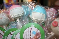 "Football themed Cake pops for Baby Shower made by ""Queen of Pops"""