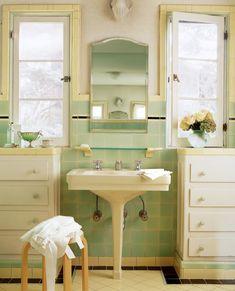 Modern Small Bathroom Tiles Solutions For Small Bathrooms Old House Journal Magazine throughout ucwords] 1930s Bathroom, Art Deco Bathroom, Yellow Bathrooms, Vintage Bathrooms, Bathroom Storage, Bathroom Interior, Small Bathrooms, Luxury Bathrooms, Bungalow Bathroom