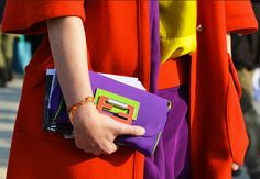 bold and bright Fendi bag. I am loving the new color blocking trend.