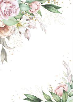 Paper Background Design, Gold Wallpaper Background, Wallpaper Backgrounds, Flower Graphic Design, Graphic Design Lessons, Frame Floral, Flower Frame, Baby Birthday Card, Wedding Invitation Background