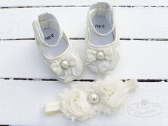 Baby IVORY Satin Soft Rosette Crib Shoes with Rose Flowers,Pearl and Headband Set,Christening, Baptism, Wedding,Crib Shoes.Girl 1st Birthday on Etsy, $14.99