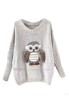 ROMWE | Owl Appliqued Grey Jumper, The Latest Street Fashion