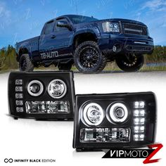 2007 2017 Gmc Sierra 1500 2500hd Sle Denali Black Halo Projector Led Headlights Vipmotoz