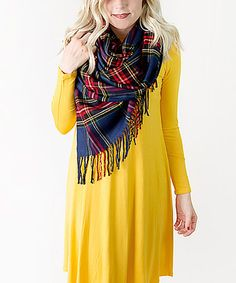 Another great find on #zulily! Navy & Red Hope Plaid Shawl Scarf #zulilyfinds