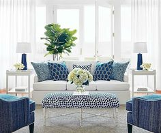 """Thibaut Wallpaper, Fabrics  Furnitures new Calypso series is classic summer perfection. Nothing beats blue and white- and the fabrics are all Sunbrella so they are super easy…"""
