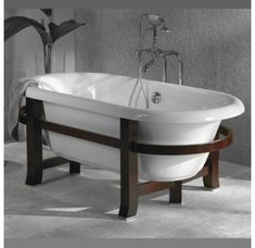 Your bathroom will feel like the spa at your favorite island resort when you add the Jacuzzi Era 72 Inch Double Ended Freestanding Tub . An exotic wood. Contemporary Bathroom Rugs, Luxury Bathtub, Bathtub, Bathtub Remodel, Jacuzzi, Refinish Bathtub, Free Standing Bath Tub, Kitchen Appliances Luxury, Free Standing Tub