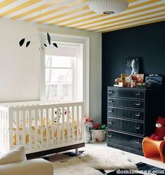 LOVE the stripes on the ceiling instead of the walls