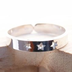 Bague anneau découpé 3 étoiles percées en argent 925, plaqué-or ou plaqué-or…