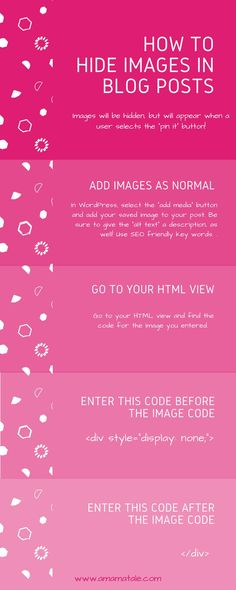 How to hide images in blog posts for Pinterest! Pinterest tips and tricks, WordPress hacks, and blogging traffic.  http://www.amamatale.com
