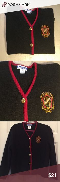 ⚡️1 DAY SALE⚡️90s Pendleton Cardigan A great preppy cardigan by Pendleton circa 1990s. Lovely goldtone  buttons with an embossed crest that resembles the embroidered crest on the front of the cardigan. 100% black wool body with burgundy wool accent along the front. A beautiful piece for fall and winter! Pendleton Sweaters Cardigans