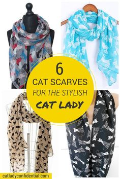Cat Scarves for Stylish Cat Ladies at Cat Lady Confidential (http://catladyconfidential.com)
