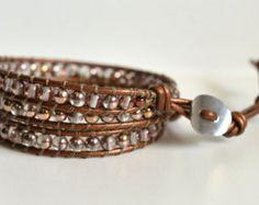 Drievoudige Wikkel lederen armband zaad door HandmadeGiftsStore