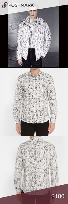 Sandro Slim Fit Marble Print Cotton Shirt As seen on Nick Jonas! Slim fitting marble print button up cotton shirt. In great preowned condition! Sandro Shirts Dress Shirts