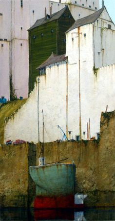 "Cyril Croucher: ""Burgh Island"" acrylic on canvas // Diggin' the way he paints ships"