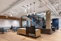 Hickok Cole designed the latest offices for communications agency, Bully Pulpit Interactive, located in Washington DC. Bully Pulpit Interactive is a Office Ceiling, Open Ceiling, Exposed Concrete, Exposed Brick, Oasis, Open Office, Office Spaces, Work Spaces, Commercial Construction