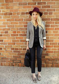 Perfect pairing of blazer, leopard flats, and fedora