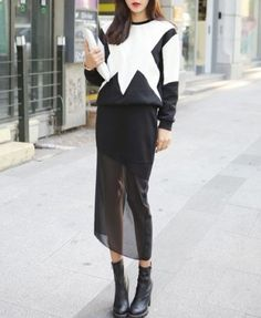 Black and White Quilting Long Sleeves Sweatshirt