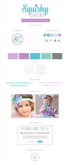 Squishy Cheeks Accessories for Baby - Custom logo, secondary logo, branding and tagline design for this fantastic baby clothing and accessory company! Color palette is lavender, purple, turquoise, seafoam and grey!