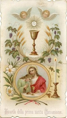 Jesus Religious Images, Religious Art, Catholic Pictures, Vintage Holy Cards, Blessed Sunday, Catholic Crafts, Halloween Scrapbook, Mary And Jesus, First Holy Communion