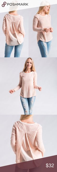 *RESTOCKED* Adorable Pretty in Pink Top Polka Dot Long Sleeve Open Chiffon Back with Faux Leather Neck Line. Tops Blouses
