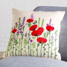 This stunning hand embroidered Poppy cushion cover has been created by artists at a fair trade cooperative in Bangladesh. Each stitch has been made with thought and care making this beautifully unique item the perfect addition to any home Handmade Cushion Covers, Embroidery Techniques, Red Poppies, Fair Trade, Sewing Ideas, Poppy, Home Accessories, Cushions, Throw Pillows