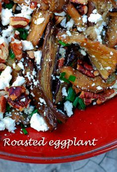 Pomegranate Roasted Eggplant with Toasted Pecans & Chives – Serves 4