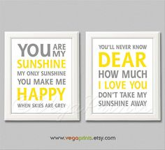 Yellow and grey you are my sunshine wall art print by VegaPrints