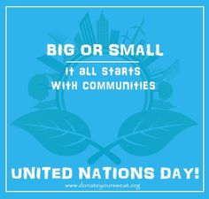 Happy United Nations Day! As the UN turns 72, we're asking for your help to achieve the 17 Global Goals for Sustainable Development. Let's pledge to do our part for the UN's sustainable development goals to be reached. Find out about all the Goals at: http://www.un.org/sustainabledevelopment/ #UNDay #UNO #UnitedNations #SDG #Sustainable #DonateYourSweat #Community #welfare #Volunteering