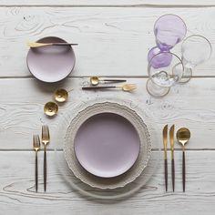 Pearl Halo Glass Charger + White Lace Dinnerware + Heath Ceramics in Wildflower + GOA 24K Gold & Wood Flatware + Chloe Gold Rimmed Stemware & Chloe Gold Rimmed Stemware in Lilac | Casa de Perrin Design Presentation