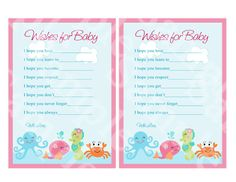 Printable Under the Sea/Pink Whale Wishes by PersonalizedbyDiane, $6.00