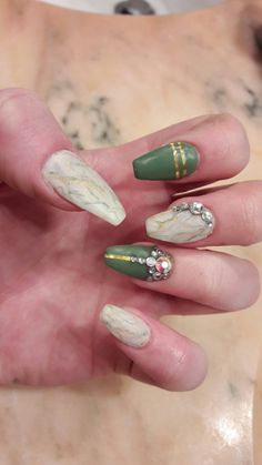 Green and white marble nails
