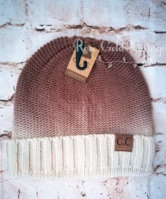 Ombre Foldover CC Beanie Hat – Rose Gold Vintage