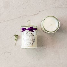 Hand Poured Soy Candle with Custom Swing Tag wedding favour, bonbonniere