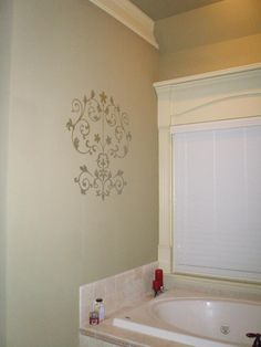 Classy Damask wall art by WallPops makes a beautiful bathroom!