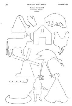 vintage 1908 thanksgiving (and other) shapes to cut, colour, silhouettes Indian, windmill, etc