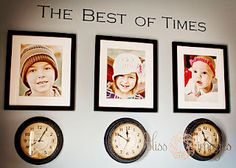 kids' photos + clocks stopped at their times of birth.