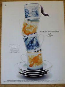 FRENCH-ADVERTISING-PUBLICITE-HERMES-Arts-de-la-Table-1996-Animaux-bien-dresses